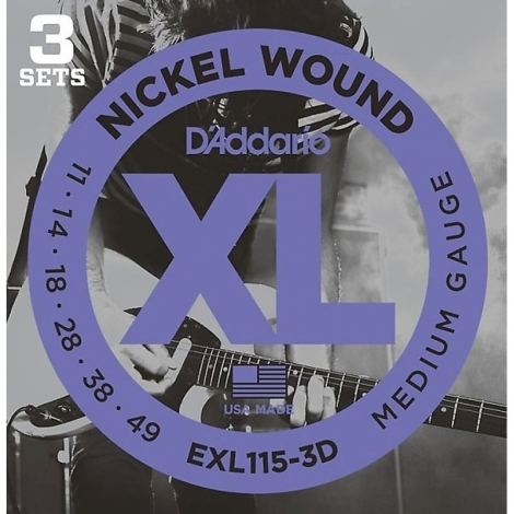 D'Addario EXL115-3D gitaarsnaren 3-Pack