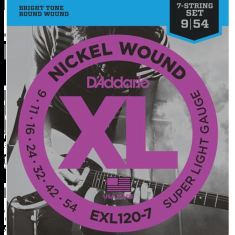 D'Addario EXL120-7 Round Wound Snaren voor 7-Snarige Elektrische Gitaar (9-45