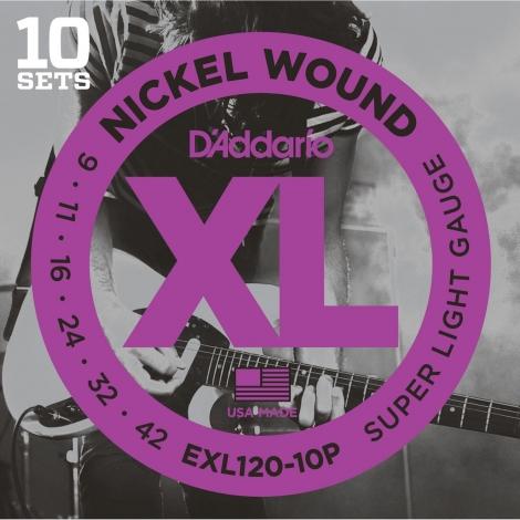 D'Addario EXL120 Round Wound Snaren voor Elektrische Gitaar (9-42) 10-Pack