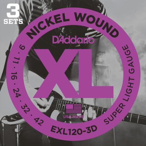 D'Addario EXL120 Round Wound Snaren voor Elektrische Gitaar (9-42) 3-Pack