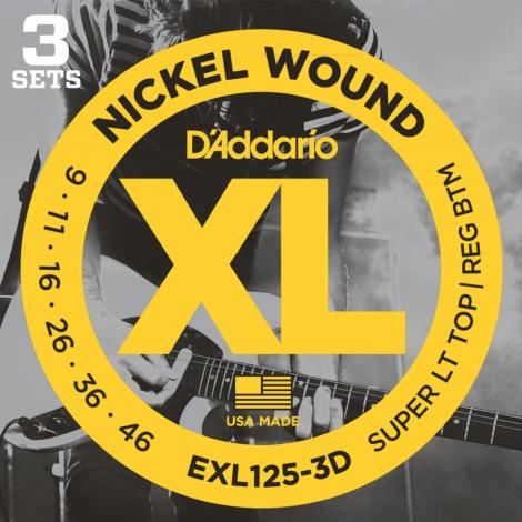 D'Addario EXL125 Nickel Wound Snaren voor Elektrische Gitaar (9-46) 3-Pack