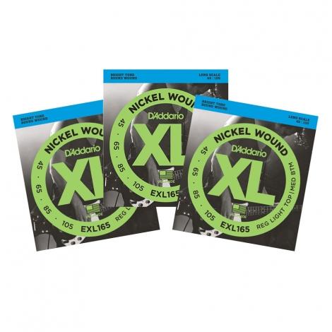 D'Addario EXL165 Bassnaren Long Scale (45-105) 3-Pack