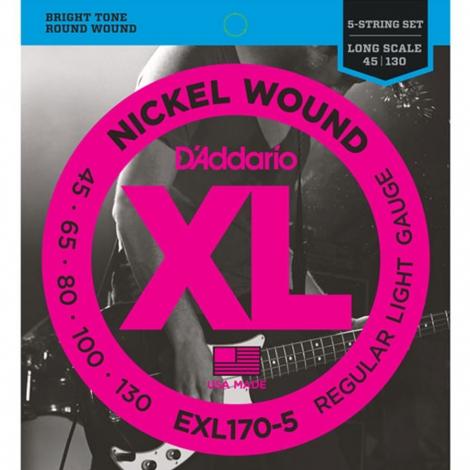 D'Addario EXL170-5 Bassnaren Long Scale (45-130)