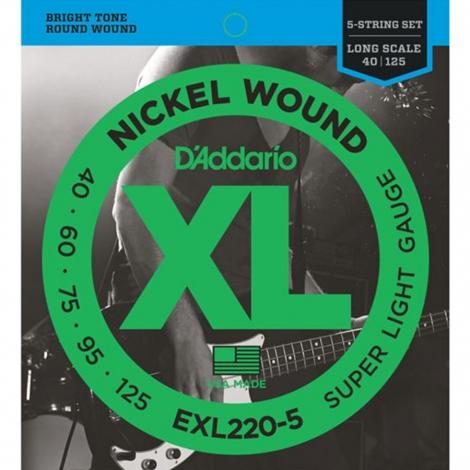 D'Addario EXL220-5 Bassnaren Long Scale (40-125)