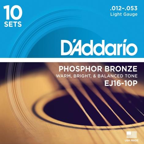D'Addario EJ16-10P Phosphor Bronze Westernsnaren (12-53) 10-Pack