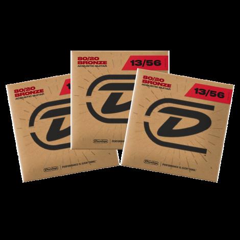 Dunlop DAB1356 Westernsnaren Bronze .013 - .056 3-Pack
