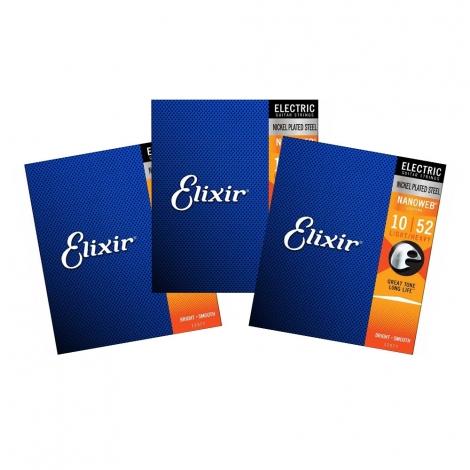 Elixir 12077 Nanoweb Snaren voor Elektrische Gitaar (10-52) 3-Pack