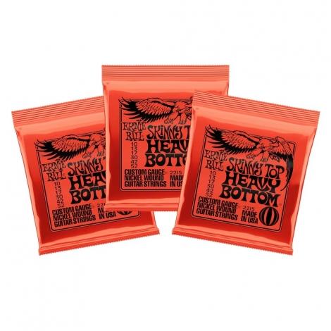 Ernie Ball 2215 Snaren Skinny Top Heavy Bottom Snaren voor Elektrische Gitaar (10-52) 3-Pack