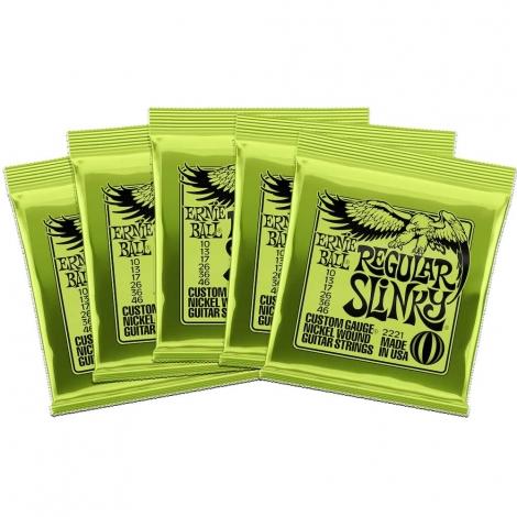 Ernie Ball 2221 Regular Slinky Snaren voor Elektrische Gitaar (10-46) 5-Pack