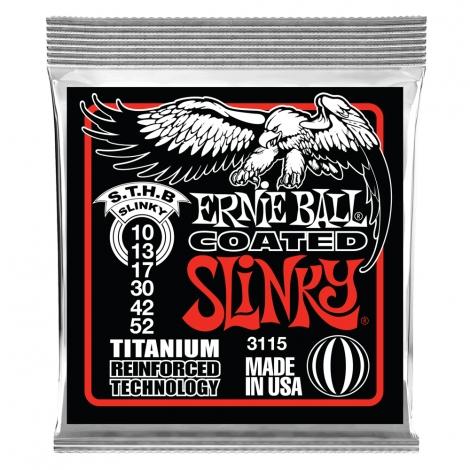 Ernie Ball 3115 Coated Slinky's Titanium Snaren voor Elektrische Gitaar (10-52)