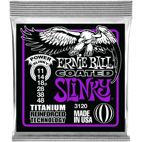 Ernie Ball 3120 Coated Slinky's Titanium Snaren voor Elektrische Gitaar (11-48)