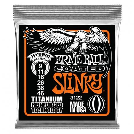 Ernie Ball 3122 Coated Slinky's Titanium Snaren voor Elektrische Gitaar (9-46)