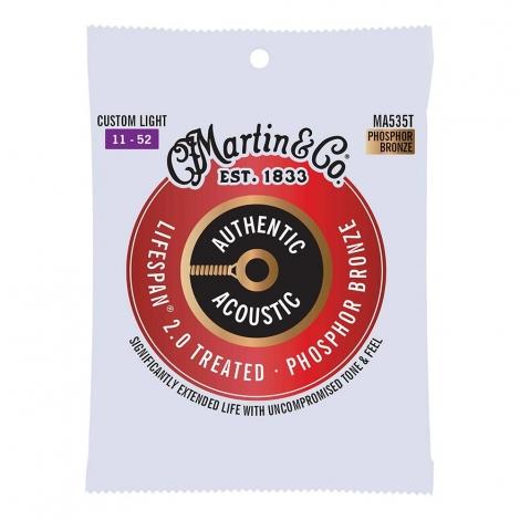 Martin MA535T Lifespan 2.0 Snaren voor Akoestische Gitaar (11-52) Phosphor Bronze, Custom Light