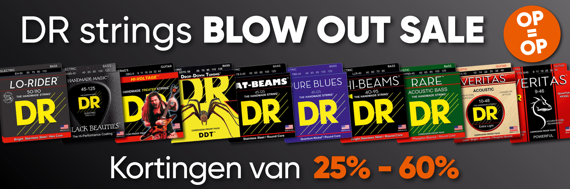 DR Strings Blowout Sale! Tot 60% korting op DR gitaarsnaren en bassnaren!