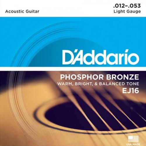 D'Addario EJ16 Phosphor Bronze Westernsnaren (12-53) Light
