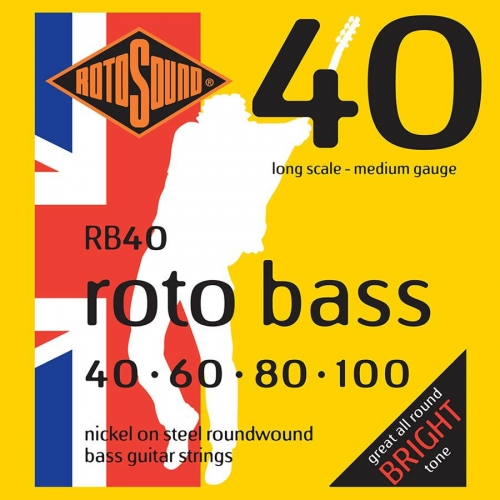 Rotosound RB40 Roundwound Bassnaren Long Scale (40-100)